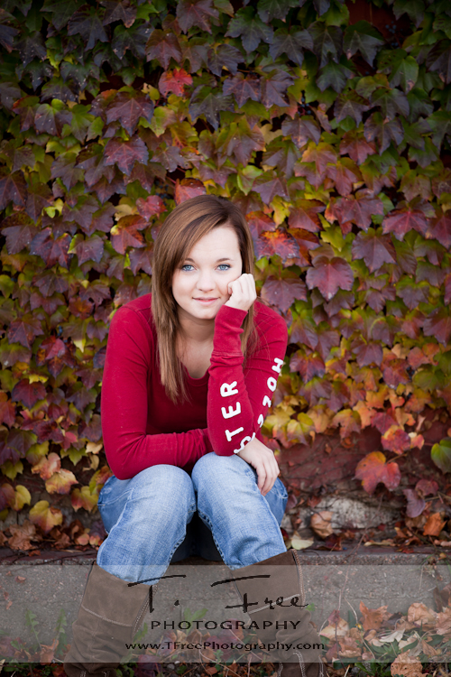Gorgeous outdoor fall colors senior picture taken by iowa senior photographer near north downtown Omaha Nebraska.