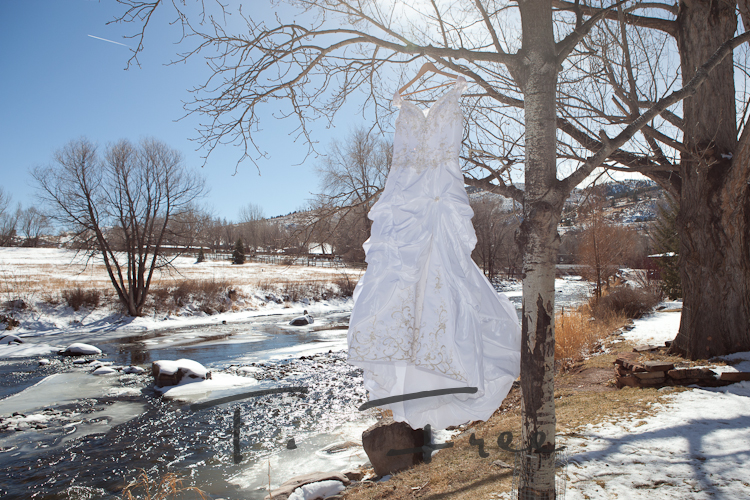 Unique image of the wedding dress hanging in a tree near the river at Sylvan Dale Ranch.