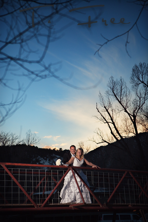 Bride and groom image at the Colorado Sylvan Dale Ranch sunset.