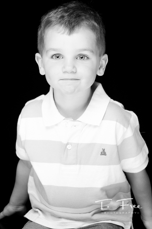 Great no smile in studio black and white image from Gretna, Nebraska.