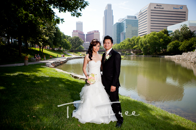 Traditional downtown Omaha skyline wedding picture of the Nebraska bride and groom.