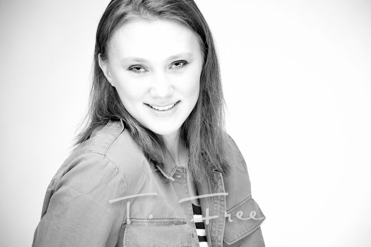 Best of Omaha senior pictures in studio balck and white.