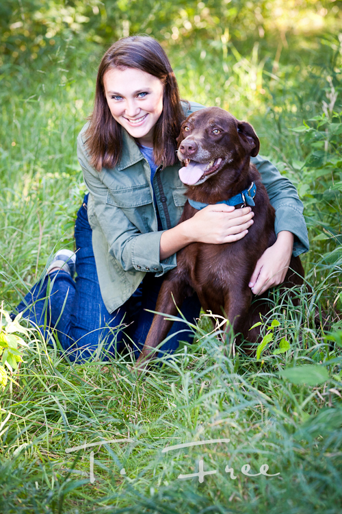 Senior picture with her chocolate lab dog near Elkhorn, Nebraska.