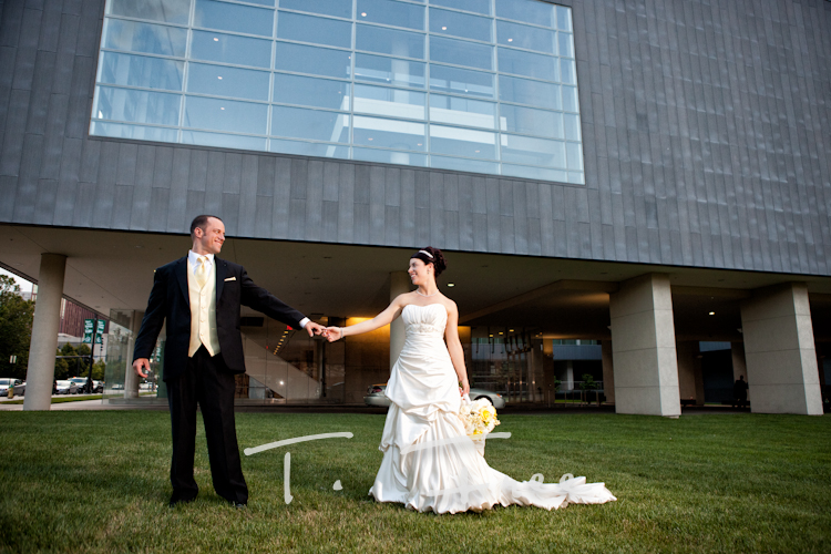 Bride and groom outside of the Holland in Omaha.