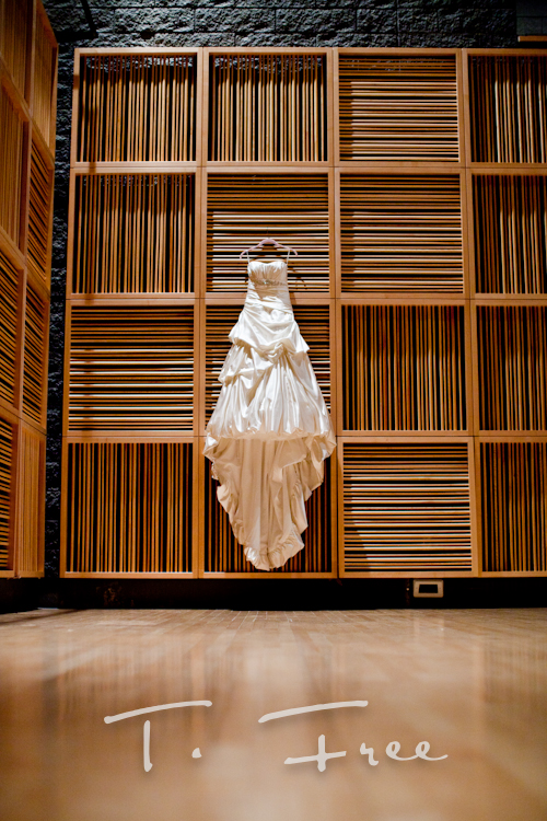 Stunning wedding dress photographed at the holland performing art center in downtown Omaha.