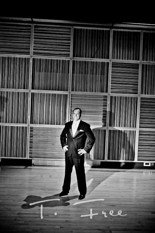 Cool black and white groom image at the Holland Performing Arts Center in downtown Omaha Nebraska.