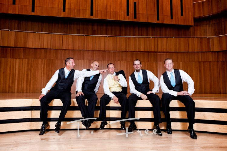 Groomsmen having a good time during pictures at the Holland in downtown Omaha.