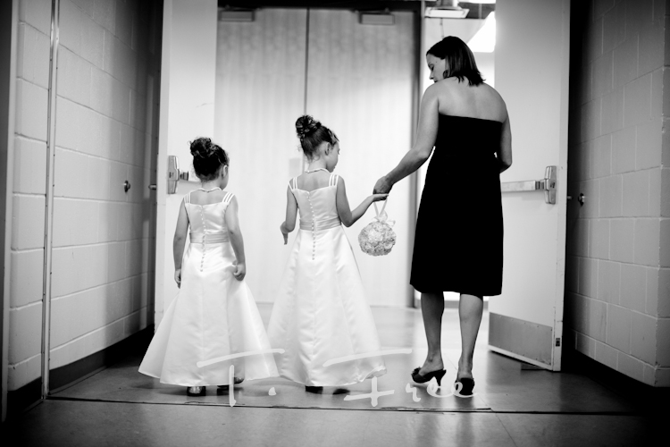 Flower girls preparing for the walk down the aisle at the Holland.