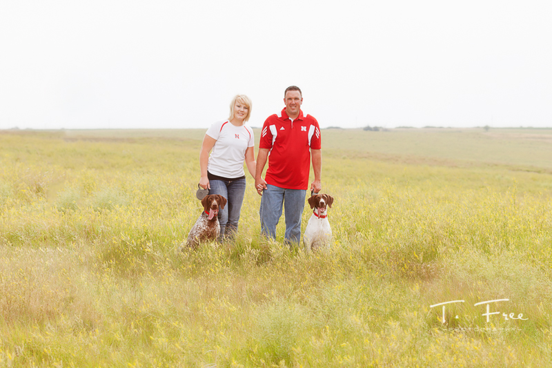 Engagement session with Husker fans in central Nebraska.