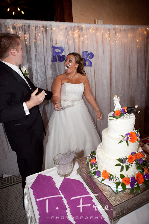 Shocked bride facial expression after reception cake smash in the face at Cheex in Holdrege Nebraska.