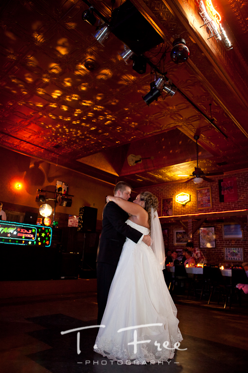 Bride and grooms first dance as a married couple at Cheex in Holdrege Nebraska.