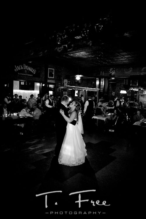 Very neat black and white image of bride and groom dancing at Cheex in Holdrege Nebraska.