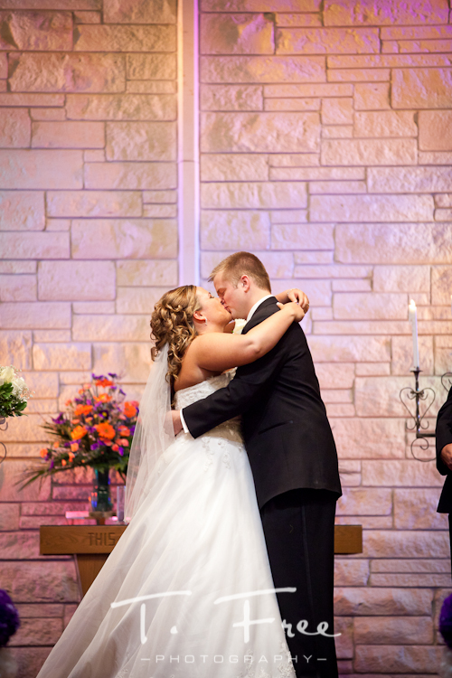 You may kiss your bride at the alter at Nebraska wedding.