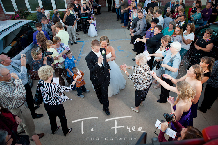 Exiting the church with rice being thrown by guests taken near Loomis Nebraska.