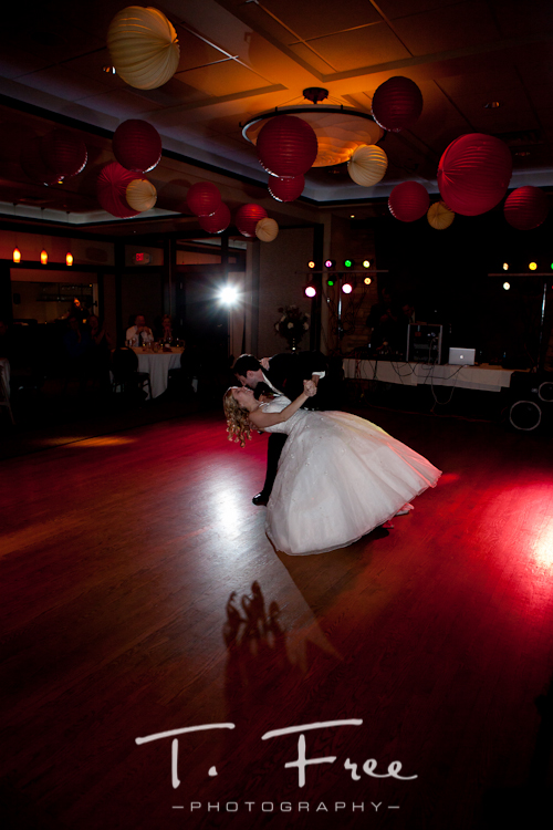 Wedding reception first dance at the Anthony's Steakhouse grand ballroom in Omaha, Nebraska.
