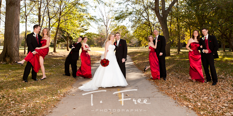 Creative wedding party image taken at Seymour Smith Park in Omaha.