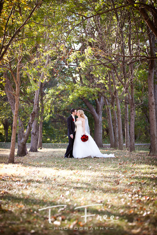 Fall colors with newly married couple kissing taken at Seymour Smith Park in Omaha Nebraska.