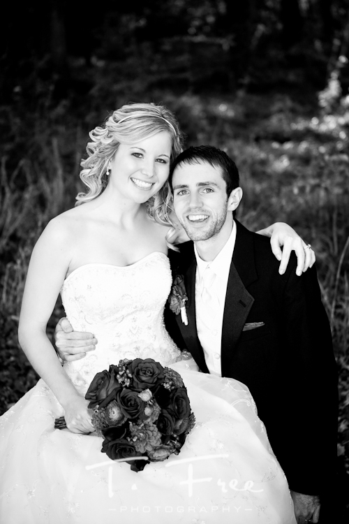 Stunning black and white image of bride and groom at taken at Seymour Smith Park in Omaha Nebraska.