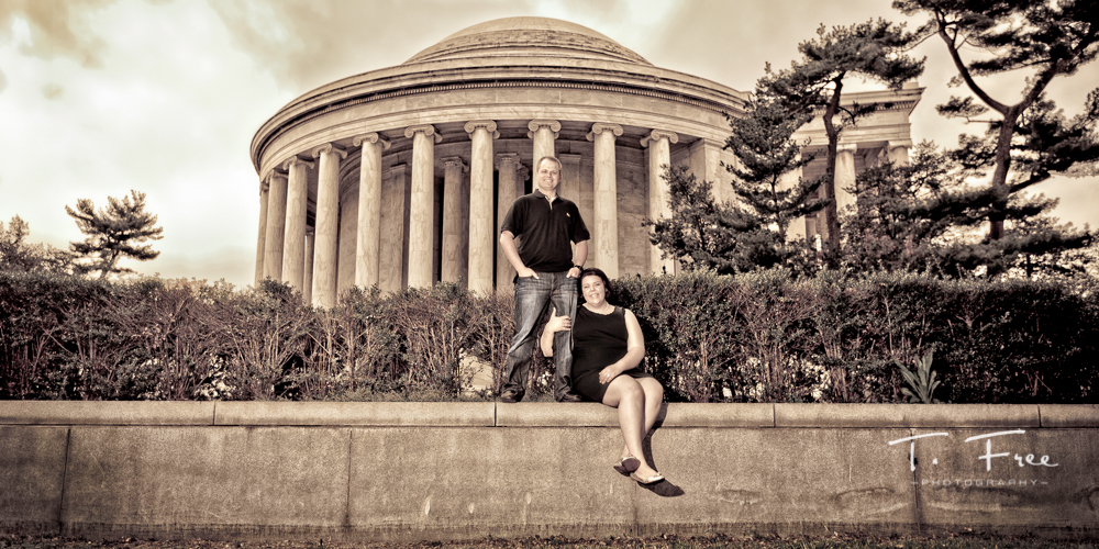 Destination engagement photo in front of the Thomas Jefferson Memorial in Washington DC.