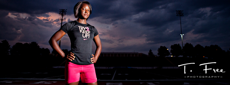 ESPN the magazine style track star senior sports picture taken at Burke Stadium in Omaha.