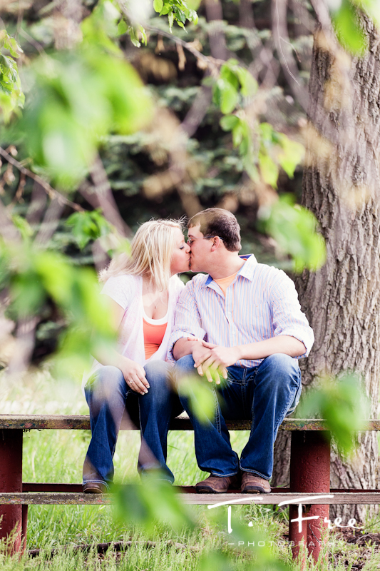 Outdoor engagement session in an abandoned park near Omaha Nebraska.