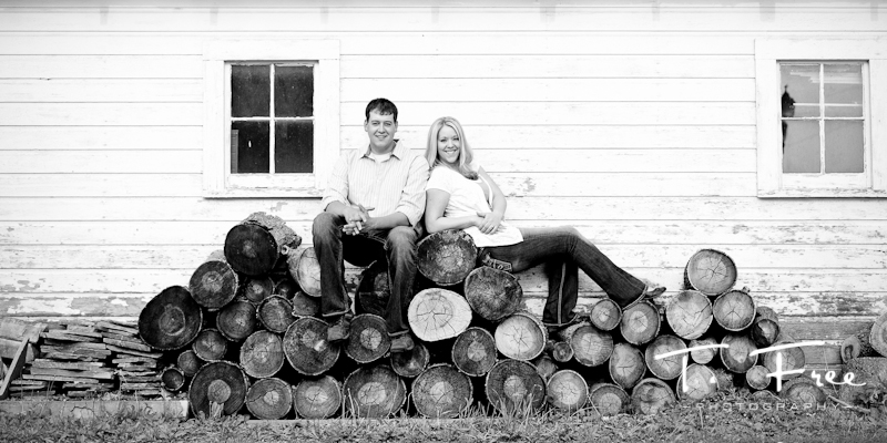 Outdoor rustic black and white engagement photo taken near Omaha Nebraska.