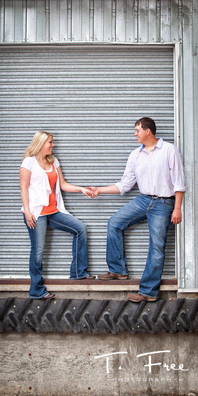 Urban style engagement image taken in an ally near downtown Hooper Nebraska.