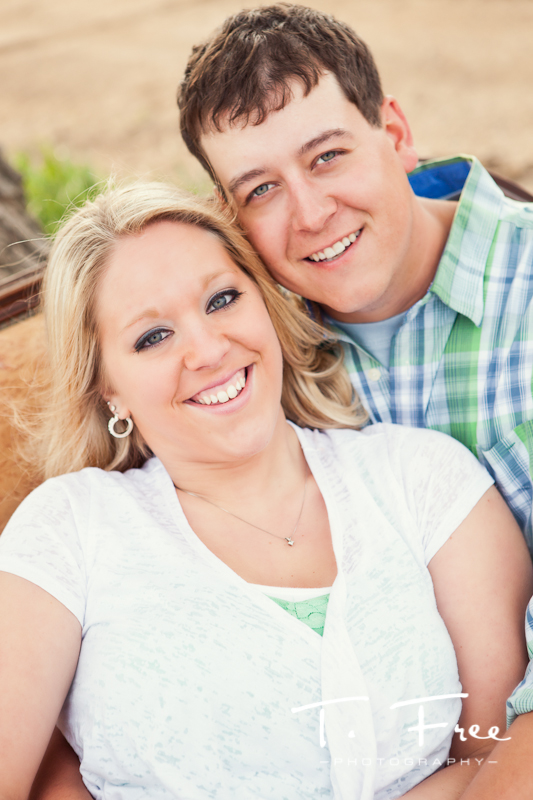 Nice outdoor country natural light image of engagement couple smiling near Scribner Nebraska.