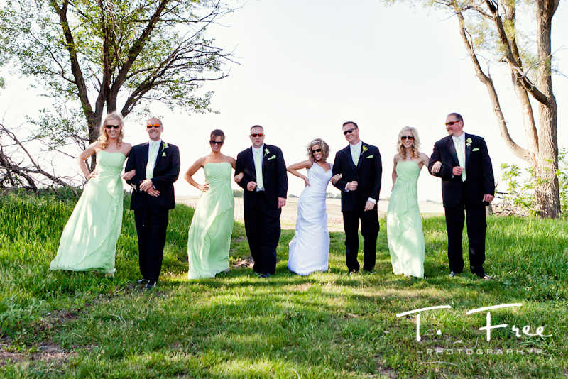 Images of the wedding party at an Elkhorn Nebraska farmstead.
