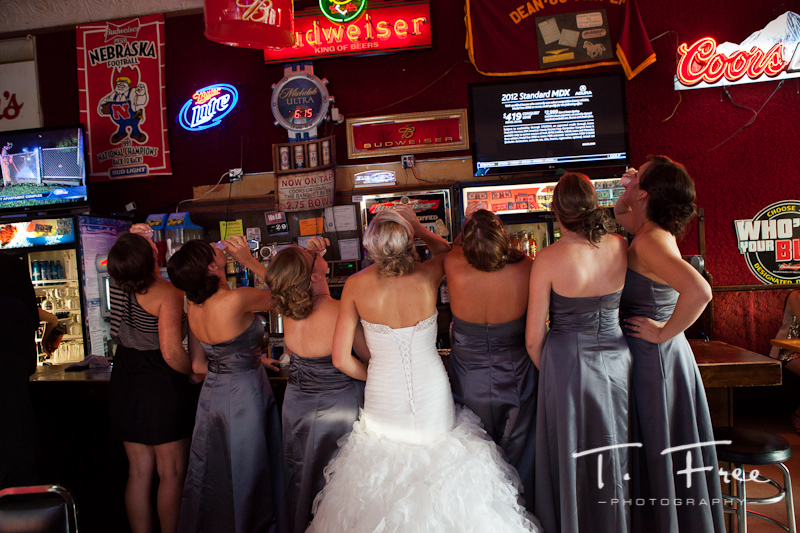 Girls at the bar prior to the wedding reception in Grand Island Nebraska.