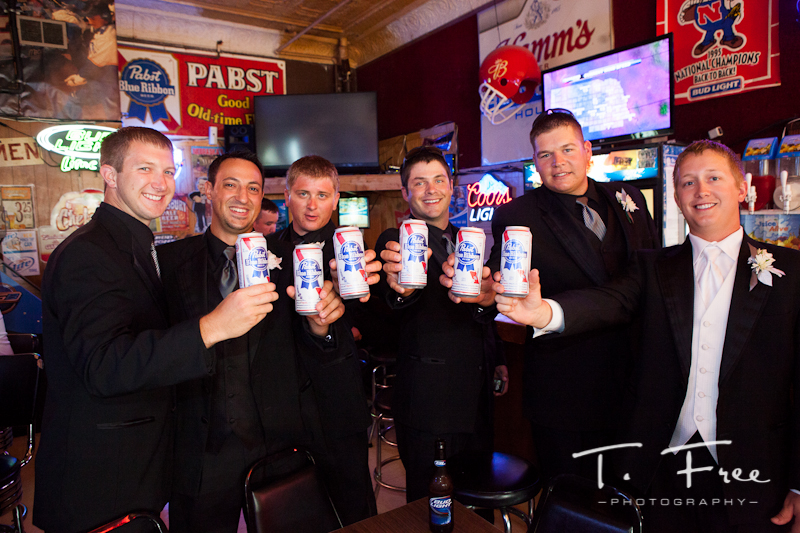 Guys at the bar prior to the wedding reception in Grand Island Nebraska.