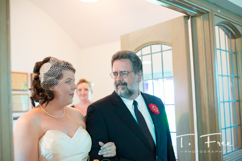 Bride with her father before walking down the aisle together at Brownell-Talbot chapel..