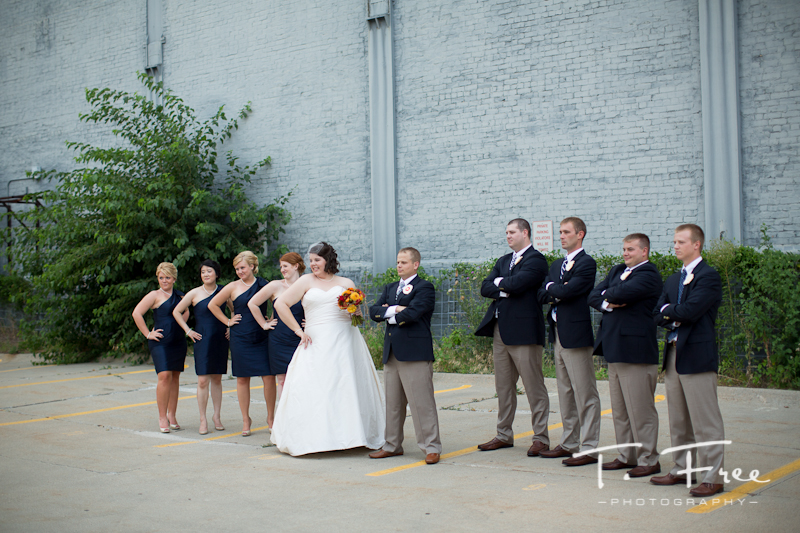 Very cool creative urban wedding party in downtown Omaha.