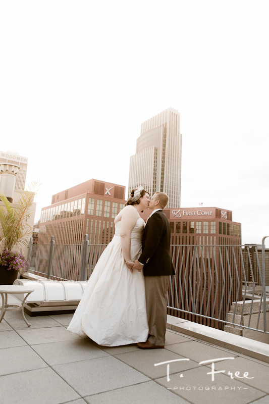 Outdoor natural light photo on top of the Paxton building in Omaha.
