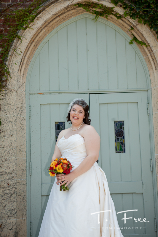 Bride in front of Brownell-Talbot church before her wedding.