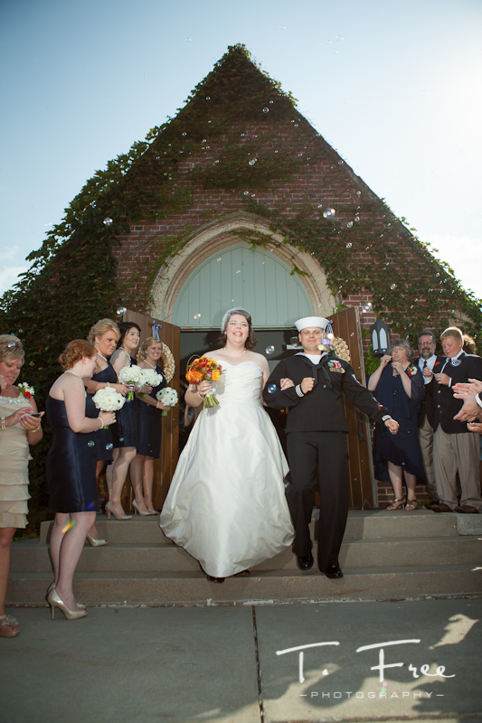 Bride and groom exit from the church at Brownell-Talbot in Omaha.