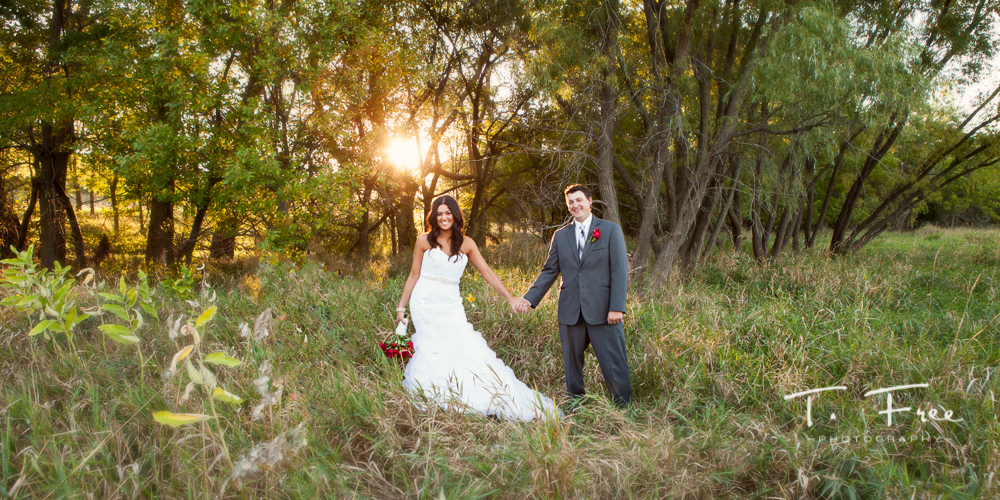 Gorgeous outdoor sunset wedding near Gretna Nebraska and Chalco.