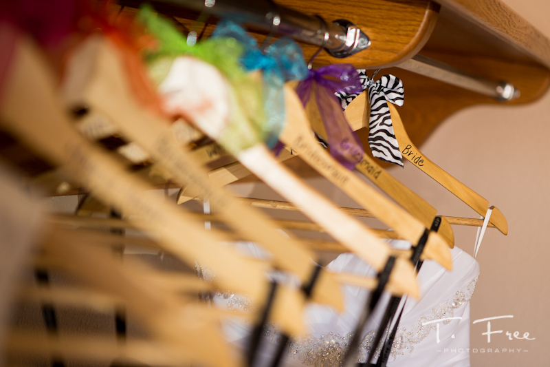 Hangers for bridal gown and all bridesmaid dresses.