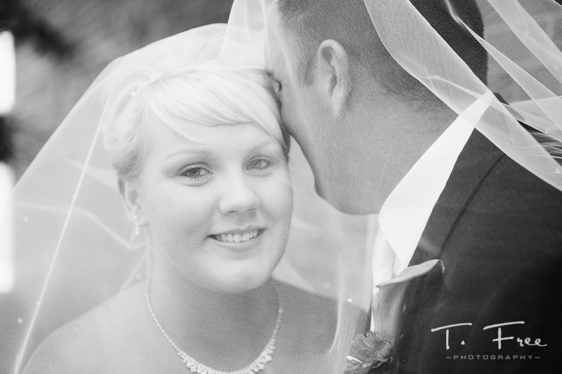 Black and white portrait of the central Nebraska bride and groom.