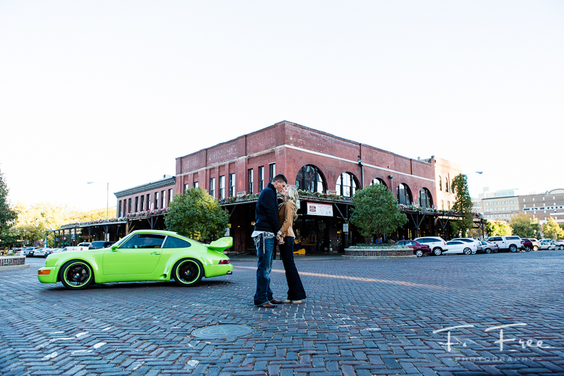 Creative engagement photo in Old Market Omaha.
