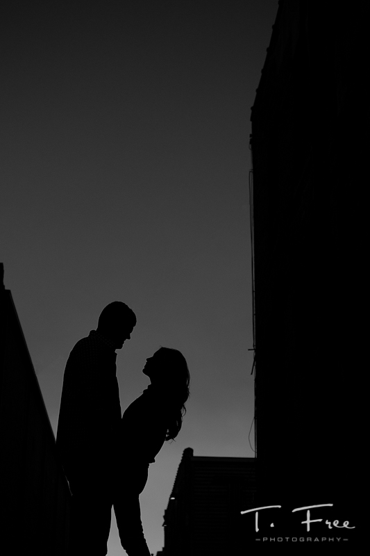 Very cool silhouette black and white engagement photo.