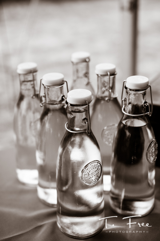 Classic glass bottle nebraska wedding decor.