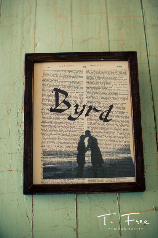 Handmade framed dictionary wedding decor.