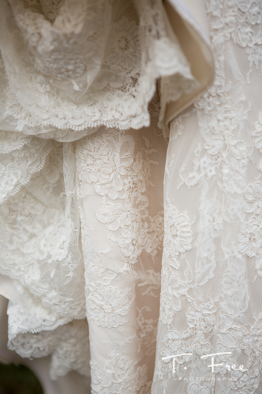 Nebraska vintage lace wedding dress detail.