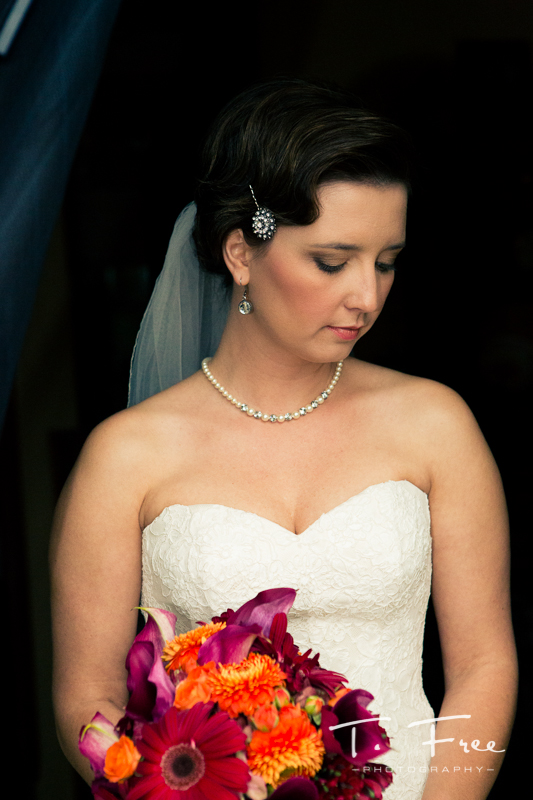 Elegant bridal portrait before outdoor nebraska vintage wedding.