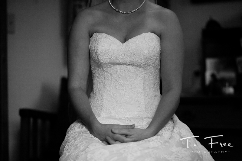 Private bride moment anticipating her big day.