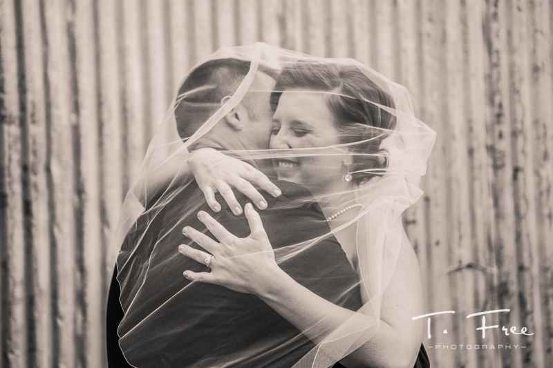 Gorgeous bride and groom image with the vail draped.