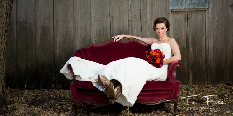 Nostalgia rental red sofa couch nebraska wedding.