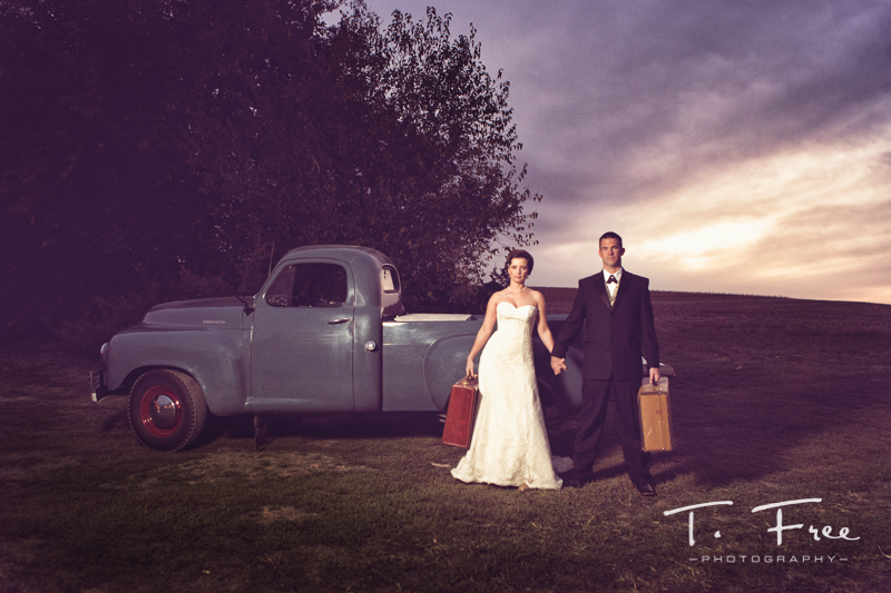 Creative vintage wedding photo of Nebraska bride and groom.