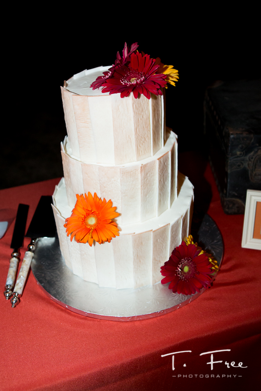 Nebraska wedding cake with gerber daisies.